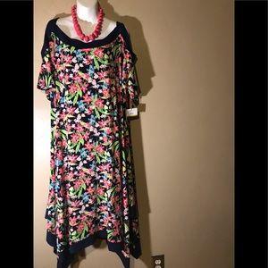 Rafella navy flowered dress size 3X, polyester NWT